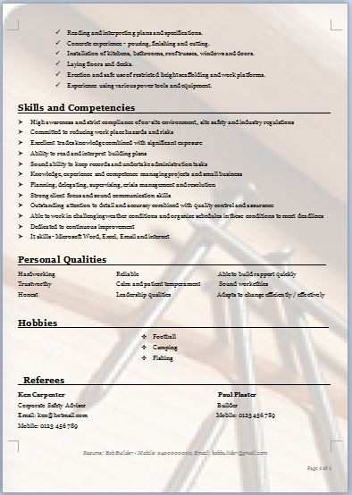 construction carpenter resume format apprentice examples journeyman example template